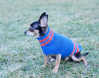 New England Patriots sweater * Chihuahua sweater * Chihuahua clothing * Hand knitted chihuahua sweater * Chihuahua gift * small dog sweater