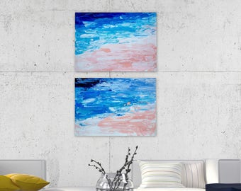 Abstract Painting on Heavy Weight Acid Free Paper 300 g. 15x11 Seascape Series, Home Decor, Bright Decor, Colorful Decor, Interiors