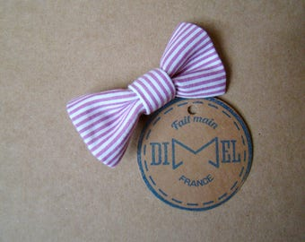 girl woman pink/white stripes bow hair clip