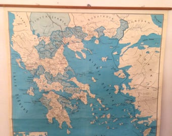 Vintage Greece Geography Map, Classroom Map, School Chart, School Map, Wall Tapestry Map, Old Chart, Pull Down Chart, Map of Greece