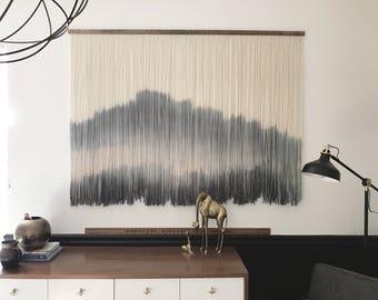 CUSTOM MEDIUM Wool Dip Dyed Wall Hanging || Fiber Wall Hanging || Boho Handmade Tapestry