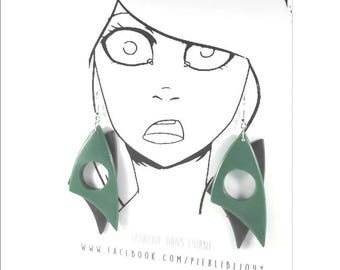Green and grey earrings