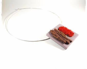 Natural Moss nature necklace - designer jewelry