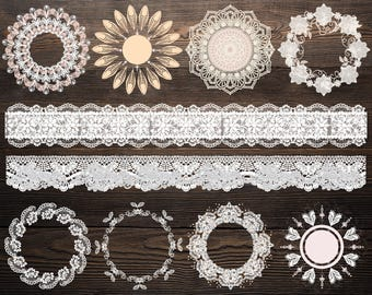 White lace doilies , Doily clipart, Invitations kit, Lace clip art, White lace doily, Vintage doily, Wedding clipart, Lace frames, Overlay