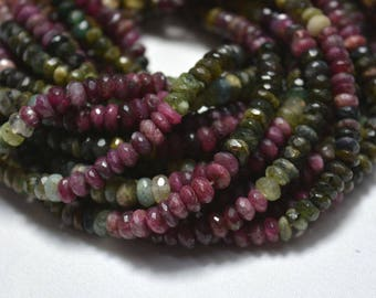 6mm Multi Color Tourmaline Rondelle Beads, Tourmaline Gemstone, Faceted Rondelle, Gemstone For Jewelry, 13 Inch Strand