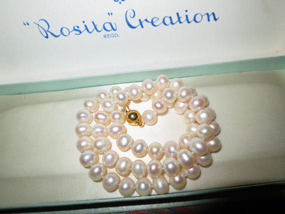 Lovely 8mm cream Akoya freshwater pearl necklace 14 ct gold plated clasp