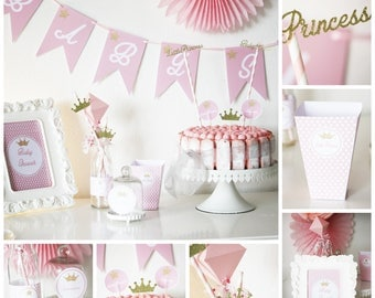 "Set for babyshower ""little princess"" - pink and gold - crowns and stars - 6"