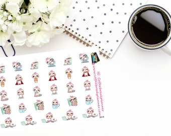 Planner Stickers |Cute Sloth Stickers|Cute Sloth Sampler|Daily Activity Stickers|For use in a wide variety of planners and journals|S018