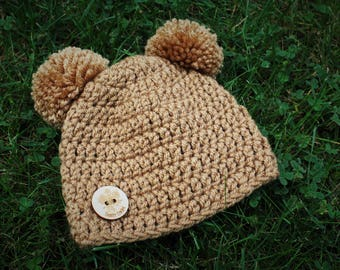 Crocheted Newborn-3 Month Light Brown Tan Double PomPom Hat