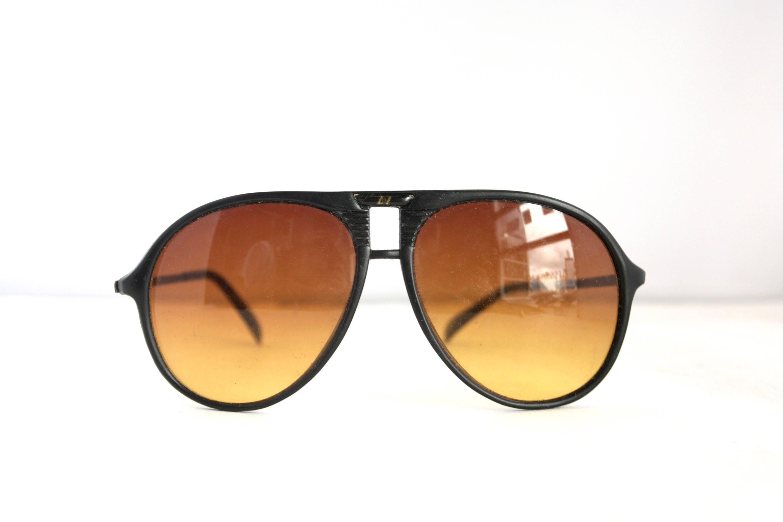 Retro 70u0027s 80u0027s AmberVision Aviator Sunglasses // Amber Tint Lenses