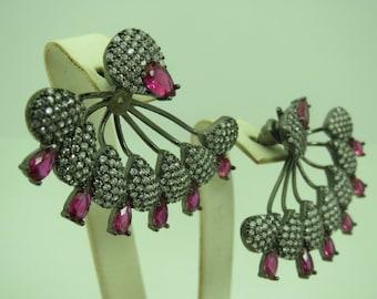 Turkish Jewelry Hurrem Sultan 925 Sterling Silver Ruby Stone Ladies' Earrings