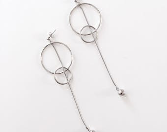 Double circle dangle chain earrings