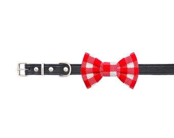 """Red checked dog bow tie - 30% of sales donated to dog shelters """"dog bow tie"""" symbol for animal support"""