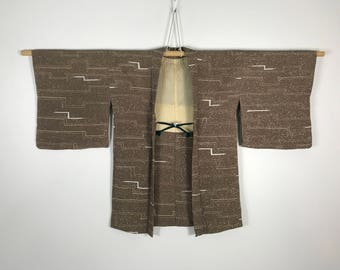 D759 Vintage Japanese Haori Kimono Womens Silk Cardigan Jacket Brown