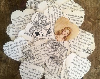 Alice in Wonderland, Alice decor, paper hearts, confetti, alice hearts, looking glass, Wonderland Party, Lewis Carroll, Tea party decor,