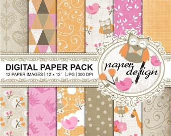 35% off 4 days sale cute baby animals digital paper set - pink and orange vintage digital scrapbooking - paper backgrounds - Shabby Chic #37