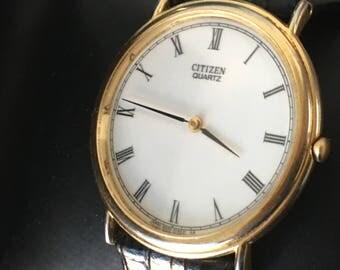 Vintage  Citizen Gents Slimline  Cal 6020A  Quartz Dress Watch Japan Movement