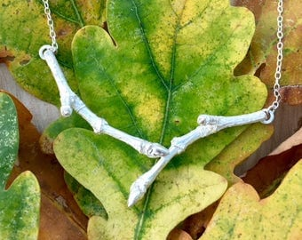 Double Twig Pendant in Sterling Silver