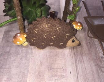 Felt Hedgehog Ornament or Keychain
