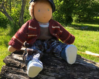 Waldorf-style Doll, Boy 45 cm/ 17,7 in tall steiner doll, cloth doll, fabric doll, Waldorf doll, soft doll, organic doll