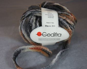Wool yarn, wool fancy, Gedifra Capriola wool Bohemian, Pincushion brown black grey, wool, knitted crochet