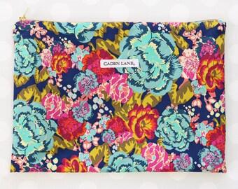 Jocelyn's Coral & NavyZippered Wet Bag  | Dark Floral Travel Bag | Navy | Cloth Diaper Zip Pouch |  Water-Resistant Swinsuit Bag | PUL Bag
