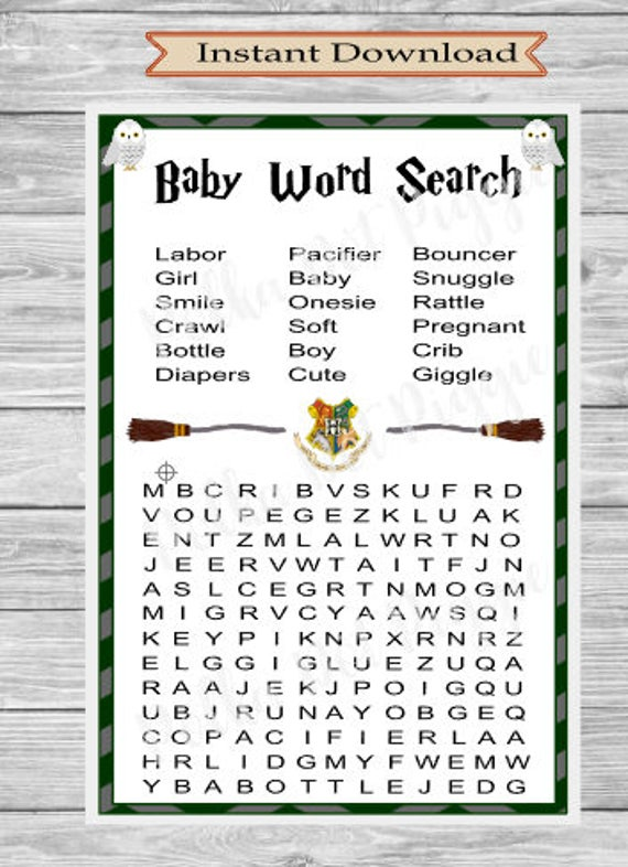 Wizard Kids Harry Potter Baby Word Search Baby Shower Game   Instant  Digital Download