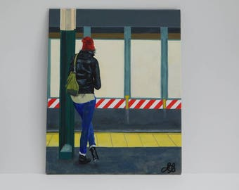 "Subway Train ""Waiting"" acrylic painting"