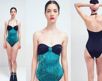 moving sale % 80s Strapless Bathing Suit One Piece Swimsuit