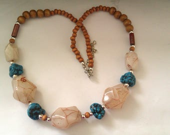 wood and plastic bead necklace