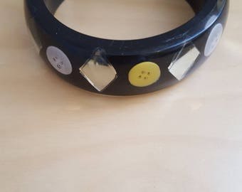 black plastic bangle buttons and mirror effect inlay