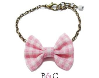 Bracelet chain Bronze pink Gingham Bow.