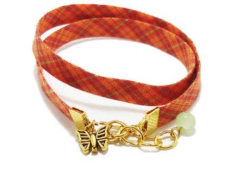 Bracelet 2 turns Orange Retro Tartan Plaid cotton Ribbon.