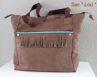 """Bag/tote bag/Tote """"Lou"""" cotton and Chocolate Suede turquoise (Blue Lagoon)."""