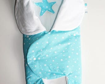 Cover baby mobile, turquoise blue and white cotton and fine fleece.