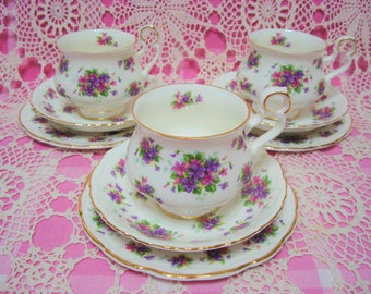 3 Beautiful Vintage ROYAL ALBERT VIOLETTA Cups, Saucers & Side Plates.
