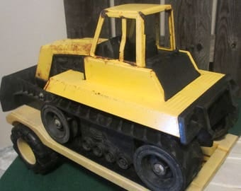 Tonka bulldozer and transport truck diecast 1970's works!