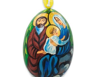 "3"" Mary with Joseph and Jesus Wooden Christmas Ornament"