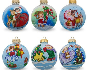 """3.25"""" Set of 6 Children with Holiday Gifts & Animals Glass Ball Christmas Ornaments"""