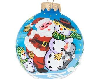 """3.25"""" Santa and Two Snowman Glass Ball Christmas Ornament"""