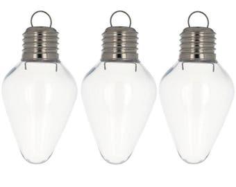 """4""""  Set of 3 Clear Plastic Light Bulb Ornaments"""