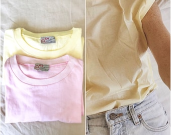 Lot of two vintage deadstock cotton tees t-shirt tank tops pale pastel pink and lemon new size L