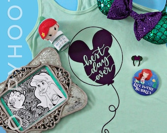 "Disney Balloon Ariel ""Best Day Ever"" Tanktop/T-shirt in Mint - Little Mermaid, Disney Princess, Parkbound, Mickey Mouse, Disney World"