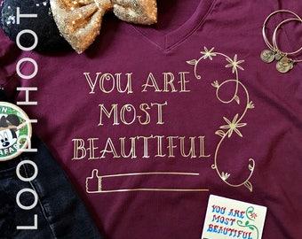 "Disney Shirt ""You Are Most Beautiful"" in Maroon -- Animal Kingdom, Harambe Market, Disney World, Walls of Disney"