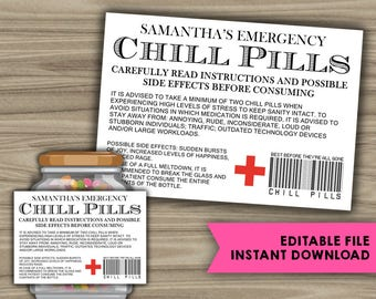 EDITABLE - INSTANT DOWNLOAD - Chill Pills Printable Label - Funny Gift - Christmas Gift For Boss - CoWorker - Work Office Gag Gift - PL10