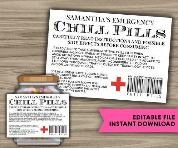 Soft image regarding printable chill pill label