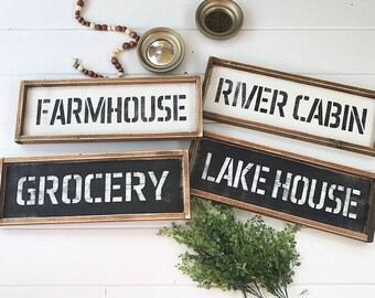 Farmhouse Sign, Grocery Sign, River Cabin, Lake House Sign, Farmhouse, Farmhouse Style, Wood Sign, Rustic, Distressed, Wooden Sign