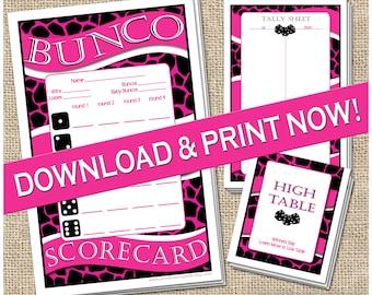 Hot Pink Printable Bunco Set