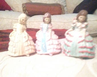 Vintage set of three ceramic young girls