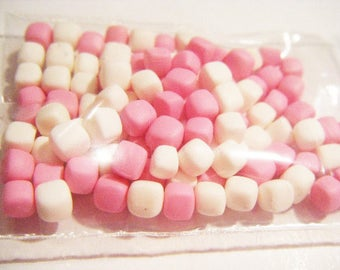 ♥ 50 miniature Marshmallow Fimo polymer clay for jar ♥